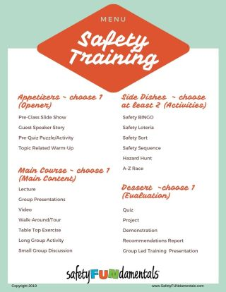Safety Training menu